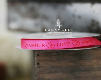 4 yards of Love valentines Pink Satin ribbon  ribbon