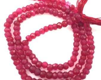 Semi Precious Gemstones,Loose Gemstones,Gemstone Beads -Dyed Ruby Faceted Rondelle - - 2.5- 3mm - 13.5 inches full strand - sku: 309002-RBY