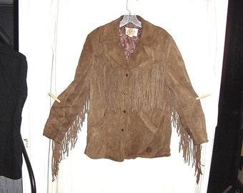 Vintage 70s Ladies Brown Suede Fringed Hippie Jacket 16 bch