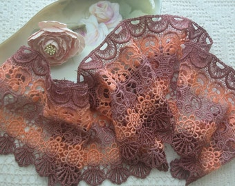Hand Dyed Wide Lace, Dark Colors, Crazy Quilts, Embellishments, Sewing