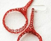 20% OFF - Wire crochet jewelry, wire crochet earrings , Red earrings , simple earrings, Ethnic crocheted  large  circle earrings in RED