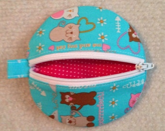 Circle earbud zippy zip pouch coin purse bright aqua kitty cat print
