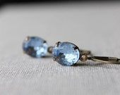 Light Sapphire Blue Rhinestone Earrings / Dainty Blue Earrings / Wedding Jewelry / Bridal Party Earrings / Vintage Earrings / Something Blue