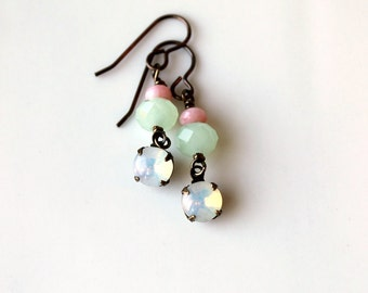 Pink and Mint Dangle Earrings / Glass Opal Rhinestone Earrings / Soft and Romantic Pastel Earrings / Vintage Glass Rhinestones