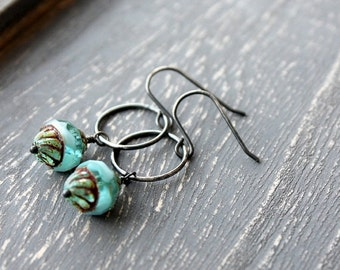 On SALE / CIJ Sale / Ice Clouds Dangle Earrings Aqua BlueTurquoise Oxidized Sterling Silver Patina Rustic Glass Bead, Silver Earrings