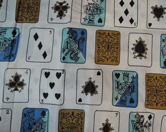 Vintage Fabric Playing Cards Novelty Print in 4 colorways, Everfast 36 inches wide 1950s Cotton, 1/2 to 1 yard samples