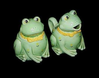 Vintage 80s Otagiri Japan Frogs Sugar and Creamer Set
