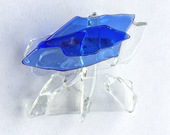 Glass Ceiling Pin Brooch Breaking Blue Cobalt Fused Glass Shattered Glass Election Donation