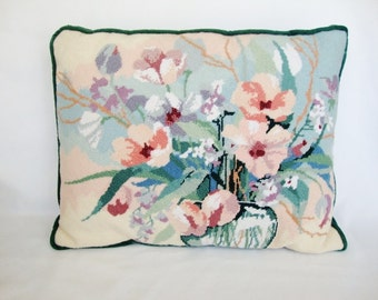 vintage needlepoint pillow hand crafted pastel flower floral