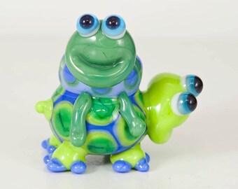 Turtle BFFs Lampwork Glass Animal Beads