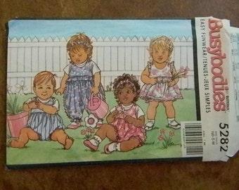 Vintage Butterick Busybodies Baby Dress, Panties, Romper, Jumpsuit & Headband Pattern #5282 newborn to 18/21 months