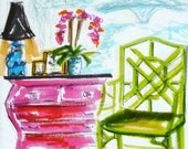 Bamboo Chippendale Chair, Art Print, Furniture, Foo Dog Lamp, Chinoiserie Interior, Pastel Colors, Orchids, Interior Scene, Ginger Jar