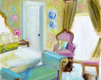 Chinoiserie Art Interior Design ORIGINAL OIL Painting French Chair Painting of Interior Chartreuse Wallpaper Blue Decor French Daybed