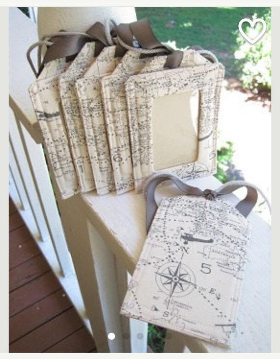 Luggage  Tags/ map Gray and natural