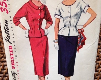 1950's peplum jacket suit dress
