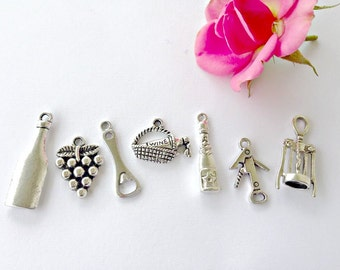 5 Sets of 7 Piece Wine Themed Antique Silver Charms Pendants Mixed Grape Wine Bottles Basket Corkscrew Opener Tibetan  Lead and nickel Free