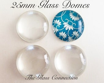 Fast Shipping 100 Clear 1 inch CLEAR GLASS  DOMES Domed Bubbles Cabochon Circles 25mm  flat back Pendant Making Round