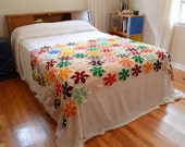 Vintage Crocheted Star Throw Blanket Multicolored