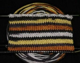 Silver, Copper, Gold, Black Self-striping Sock Yarn, Hand Dyed, Merino/Nylon - METALLURGY