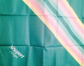 Vintage Newport Stripes Scarf 29 inches, Sea foam Green, Rainbow, Never Used, Promotional, Advertising