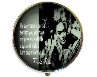 Pill Box Case Frida Kahlo Silver Stash