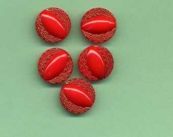 Five Vintage  Matching Red Glass Buttons With Gold Luster - 1960's