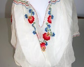 Vintage 1930s Hand Embroidered Peasant Top Made In Hungary Blouse