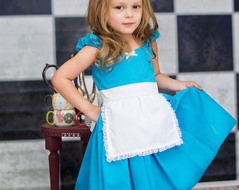 Alice in Wonderland Dress, Alice Dress, Alice in Wonderland  party, Alice in Wonderland Costume, Alice party dress, Turquoise Alice dress