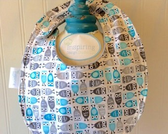 Baby-Bibs-Personalized-Toddler-Boy-Boys-Bib-Owl-Blue-Gray-Minky-Dot-Drool-feed-Newborn-essentials-accessories-Nurssery-Shower-Birthday-Gifts
