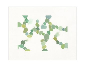 """Green Abstract Art - """"Grow"""" - Original Watercolor Painting - 8x10 inches - Free US Shipping"""