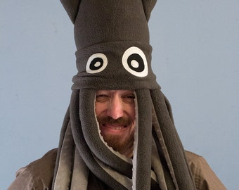 Plush Squid Hat - Large Gray Fleece