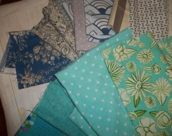 Fabric Scraps Quilting Weight Cottons Aqua Blues & Grays