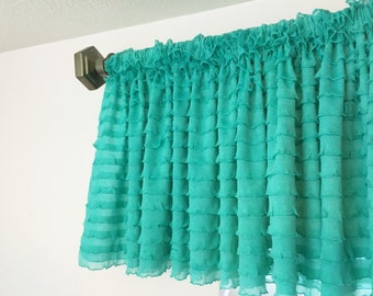 Mint Green Valance - Short Curtains - Sheer Valance - Extra Wide Valance Drapery - Mint Valance - Mint Green Curtains - Girl Nursery Curtain