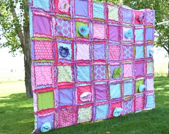 Ruffle Flower Girl Bedroom Bedding - Cottage Chic Quilt - Floral Bedding - Pink, Turquoise, Purple, Green - Queen Size Quilt