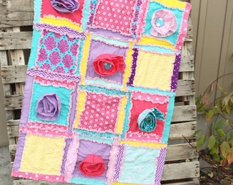 Baby Girl Nursery Mini Crib Bedding Baby Rag Quilt - Turquoise / Purple / Yellow / Pink Crib Bedding - Floral Crib Bedding Modern Nursery