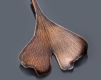 Ginkgo Leaf Ornament, copper leaf ornament, holiday ornament, fall leaf decoration