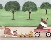 Shetland sheepdog (sheltie) family takes wagon ride / Lynch signed folk art print