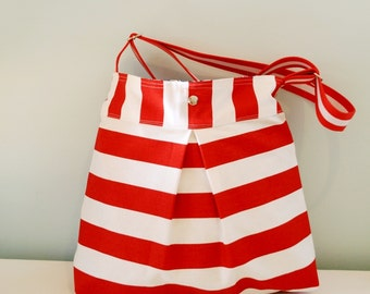 Red and White striped Diaper bag/ Beach bag/ Nautical bag with adjustable strap