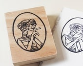 E.T. the Extra-Terrestrial Rubber Stamp // Hand-Carved Stamp