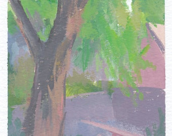 tree painting, tree artwork, nature painting, contemporary art, gouache painting, plein air painting, original painting by Michelle Farro