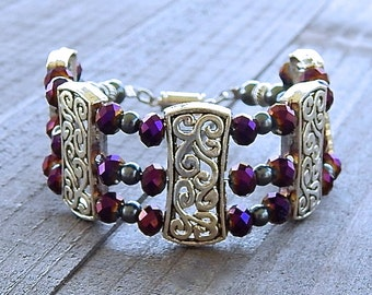 Silver Scroll Bracelet Purple Metallic Crystal Beads Gothic City Collection