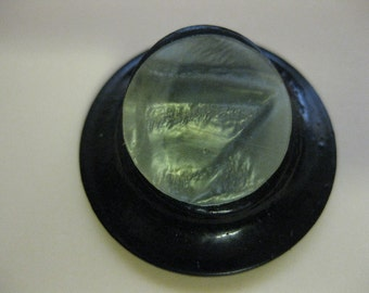 Vintage Two Tone Green Pearlized Celluloid on Black Hat shaped Button No stem