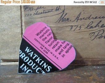 50% OFF SALE Vintage Heart Tin Brooch