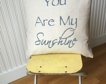 Decorative pillow ~You are my sunshine pillow cover ~ 18x18~ pillow cover only~ multiple color options