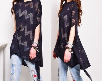LAST ONE- Moonlight - zen asymmetrical T-shirt / idea2lifestyle boho tunic / kaftan top / open knit extravegant tunic /(P5110)