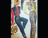 Vintage 40s Ladies' Western Bolero Reinforced Riding Pants Wounded Bird Sewing Pattern w/ Embroidery Transfer 1348 B34