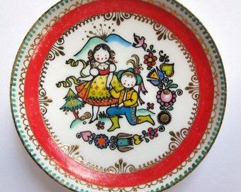 Enamel Dish ARTA 2 handmade in Austria flowers kids