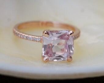 Radiant cut ring Peach Sapphire Engagement Ring square 14k rose gold diamond ring 3.92ct sapphire ring by Eidelprecious