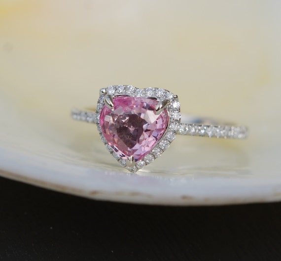 Pink heart sapphire engagement ring. White gold engagement ring. 1.02ct Heart shape sapphire 14k white gold diamond ring.