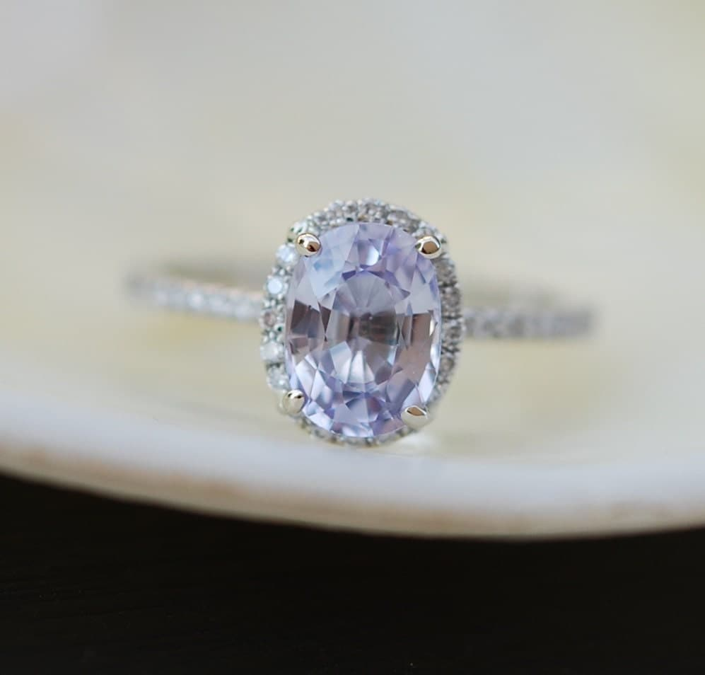 oval blue sapphire engagement ring white gold by